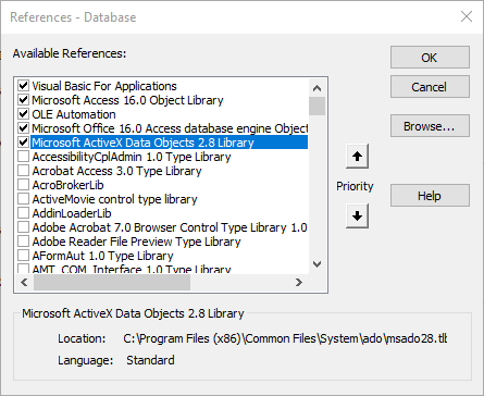 A screenshot of the VBA References panel