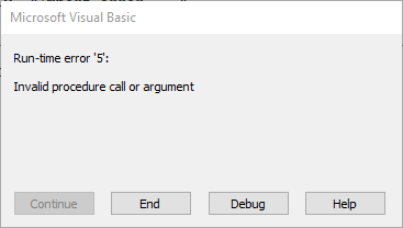 Run-time error '5': Invalid procedure call or argument